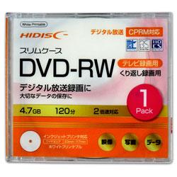 録画用 DVD-RW 1-2倍速 4.7GB 1枚 【インクジェットプリンタ対応】 HDDRW12NCP1SC