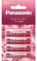 アルカリ乾電池単3形4本パック「キラカラ」ピンク LR6LJP/4B
