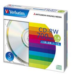 Verbatim SW80QU5V1 (CD-RW/700MB/DATA/4倍速/5枚)