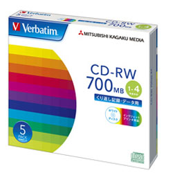 Verbatim SW80QP5V1 (CD-RW/700MB/DATA/4倍速/5枚/プリンタブル)