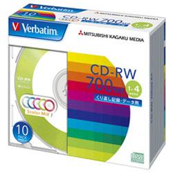Verbatim SW80QM10V1 (CD-RW/700MB/DATA/4倍速/10枚/カラーミックス)
