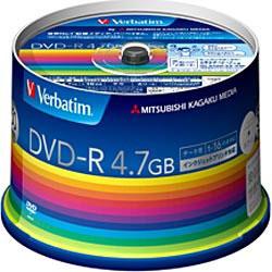 三菱ケミカルメディア Verbatim DVDーR Data 1回記録用 4.7GB 1ー16倍速 50枚入り スピンドルケース 50P ホワイト DHR47JP50V3