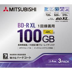 VERBATIMJAPAN インジェットプリント対応 録画用BD-R XL 100GB 3枚 VBR520YP3D3