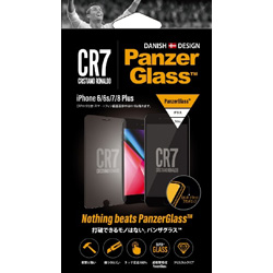 PanzerGlass(パンザグラス) iPhone 6/6s/7/8 Plus CR7ロゴ 衝撃吸収 平面保護 ラウンドエッジ ダブル強化ガラス 4層構造