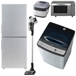 ソフマップ 一人暮らし家電セット5点 [URBAN CAFE_A] (冷蔵庫:148L、洗濯機、電子レンジ、炊飯器、クリーナー)