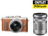 【アウトレット】 PEN E-PL8 EZダブルズームキット ブラウン [マイクロフォーサーズ] ミラーレス一眼カメラ
