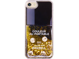 【在庫限り】 Liquid Case for Apple iPhone 7/8 - Nail Polish Black with Golden Glitter 15562