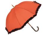 【傘】レディース長傘 サテン58cmムジフリル木棒 STF-1L58-UH(UV加工) 58cm【色指定不可】