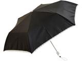 【折りたたみ傘】レディース折傘 無地レース 三つ折 【黒のみ】 [50cm]
