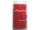 iPhone 6s/6用 Notebook type ノートブック型ケース レッド BJSL-IP6RD
