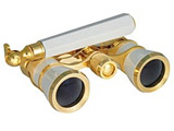 双眼鏡 SA-59CF-HD 3×25mm オペラグラス パールホワイト(柄付き)