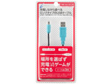 CYBER・USB充電ストレートケーブル3m ブラック×ブルー [New2DS LL] [CY-N2DLSTC3-BB]