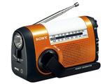 【ワイドFM対応】FM/AMポータブルラジオ(オレンジ) ICF-B09 DC 【手回し対応】