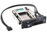 5.25インチベイ内蔵用リムーバブルラック [USB3.0ポート×2増設+SATA2.5HDD/SSD搭載可+SATA3.5HDD搭載可] iStarUSA T-5K3525U-SA