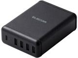 スマートフォン・タブレット用AC充電器 USB-A4ポート(おまかせ充電) Type-C1ポート(PD30W) 電源ケーブル1.5m ブラック MPA-ACD02BK