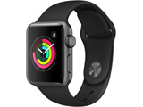 Apple Watch Series 3(GPSモデル)- 38mmスペースグレイアルミニウムケースとブラックスポーツバンド MTF02J/A
