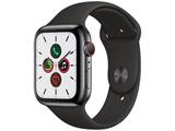 Apple Watch Series 5(GPS + Cellularモデル)- 44mm スペースブラックステンレススチールケースとスポーツバンド ブラック - S/M & M/L MWWK2J/A