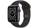 Apple Watch Series 6(GPS + Cellularモデル)- 44mmスペースグレイアルミニウムケースとブラックスポーツバンド - レギュラー