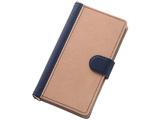 Xperia Z5 Compact用 バイカラー ブックレザーケース 合皮 ダークネイビー/ベージュ RT-RXPH2LBC7/DNBE