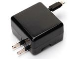 iPhone/iPod対応[Lightning] AC充電器 +USBポート (リール〜0.65m/1ポート・ブラック) MFi認証 PG-MFILGAC18BK