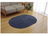 ラグ ピオニー(100×140cm楕円/ブルー)