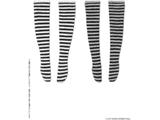 1/12  ピコニーモ用ウェア ボーダーニーハイソックス Aセット ブラック×ホワイト/ブラック×グレー