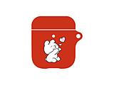 すこぶる動くウサギ AirPodsケース レッド01