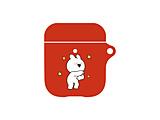 すこぶる動くウサギ AirPodsケース レッド02
