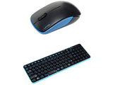ワイヤレスキーボード[2.4GHz・USB]&マウス The Wireless Silent Mouse & Keyboard (ブラック・スカイブルー)MK48367GBS