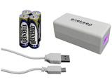 スマートフォン対応[micro USB] 乾電池モバイルバッテリー +micro USBケーブル 0.1m (ホワイト) QX-002WH
