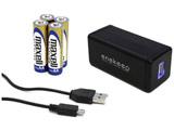 スマートフォン対応[micro USB] 乾電池モバイルバッテリー +micro USBケーブル 0.1m (ブラック) QX-002BK