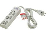 WBS-LU302B(W) LEDランプスイッチ付タップ 耐雷サージ機能付 3個口 2m