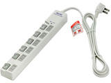 WLS-LU6200RS LEDランプスイッチ付タップ 上挿し 6個口 2m