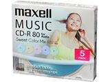 音楽用CD-R 80分/5枚【インクジェットプリンタ対応】【カラーミックス】 CDRA80PSM.5S