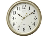 自動点灯ライト機能付 電波掛時計 4MYA36-065 ゴールドメタリック色(白)