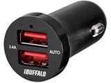 3.4A シガーソケット用USB急速充電器 AUTO POWER SELECT機能搭載 2ポートタイプ (ブラック) BSMPS3402P2BK