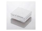 スイッチングハブ(5ポート・Gigabit対応・ACアダプタ) エコ省電力タイプ・マグネット付 (ホワイト) EHC-G05PA-JW-K
