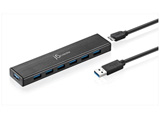 USB3.0ハブ[7ポート・バスパワー/セルフパワー・Mac/Win] ACアダプター付き ブラック JUH377