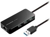 0.8m[USB-A オス→メス LAN / USB-Ax3]3.0変換アダプタ ブラック US3-HB3ETG