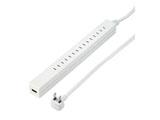 USB充電ポート付差し込みフリータップ(2P・7.5個口+USB1ポート/1.5m ホワイト) H75015WHUSB