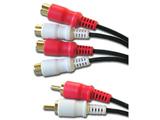 オーディオケーブル(ピンプラグ×2⇔ピンプラグメス×4) 0.3m BK-DST203