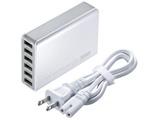 タブレット/スマートフォン対応[USB給電] AC - USB充電器 10A (1m・6ポート・ホワイト) ACA-IP40W