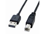 1.5m USB2.0ケーブル 【A】⇔【B】 Aコネクタ両面挿しタイプ(ブラック) KU-R15
