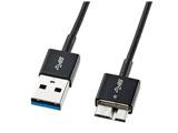 0.3m USB3.0ケーブル【A】⇔【microB】 [極細タイプ] (ブラック) KU30-AMCSS03