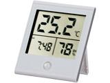 時計付き デジタル温湿度計 白 TEM-210-W