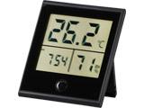時計付き デジタル温湿度計 黒 TEM-210-K