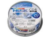 PREMIUM HIDISK CD-R音楽用 80分「写真画質レーベル」ワイドエリアホワイトプリンタブルスピンドルケース 20枚 HDSCR80GMP20SN