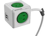 Power Cube AC充電器 USBポート付 1.5m グリーン 4490GN