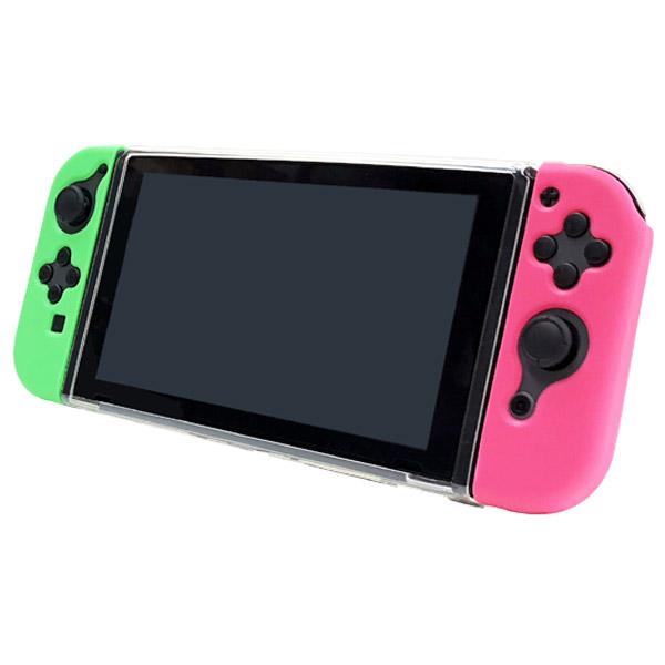 Switchジョイコン用 TPUきせかえカバー グリーン&ピンク [ANS-SW080GP] [Switch]_2