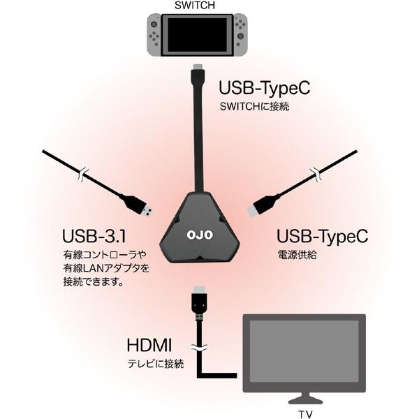 Nintendo Switch用 OJO ポータブルドック シルバー [C01-80]_1